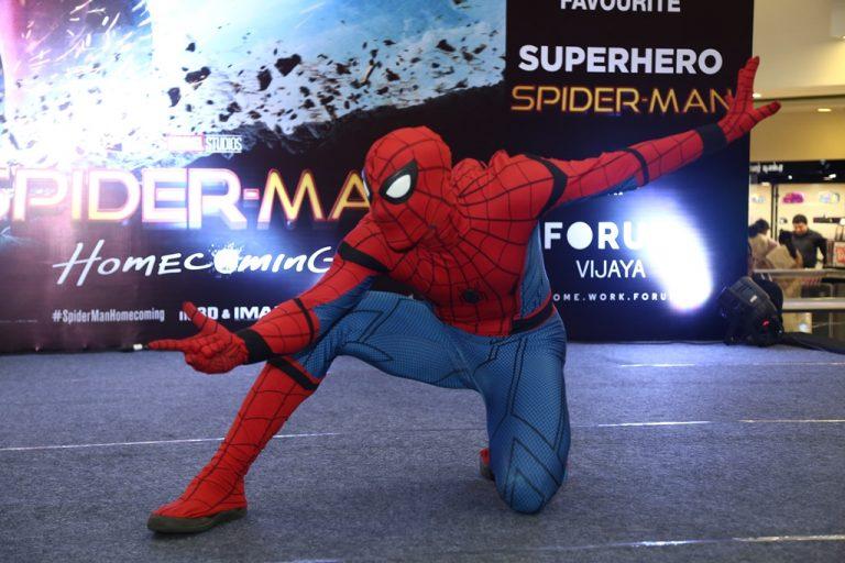 Spiderman meets his little fans at Forum Vijaya Mall